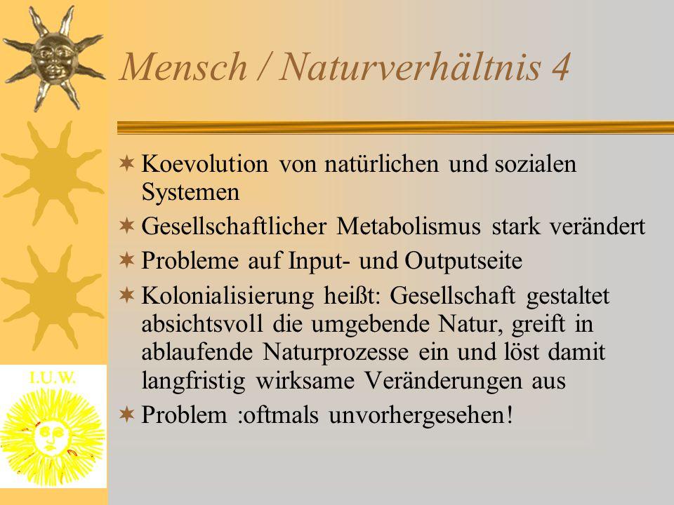 Mensch / Naturverhältnis 4  Koevolution von natürlichen und sozialen Systemen  Gesellschaftlicher Metabolismus stark verändert  Probleme auf Input-
