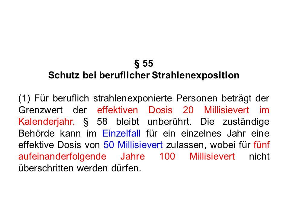 § 55 Schutz bei beruflicher Strahlenexposition (1) Für beruflich strahlenexponierte Personen beträgt der Grenzwert der effektiven Dosis 20 Millisiever
