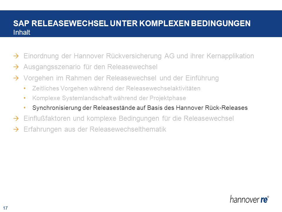 17  Einordnung der Hannover Rückversicherung AG und ihrer Kernapplikation  Ausgangsszenario für den Releasewechsel  Vorgehen im Rahmen der Releasew