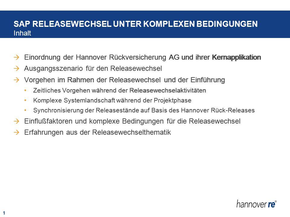 1  Einordnung der Hannover Rückversicherung AG und ihrer Kernapplikation  Ausgangsszenario für den Releasewechsel  Vorgehen im Rahmen der Releasewe