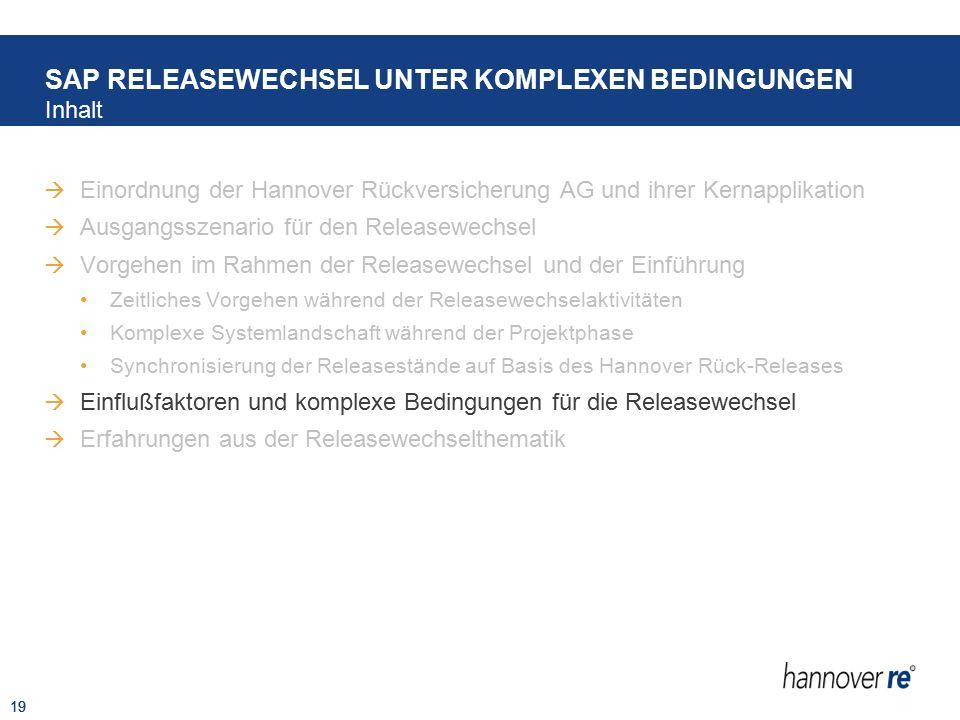 19  Einordnung der Hannover Rückversicherung AG und ihrer Kernapplikation  Ausgangsszenario für den Releasewechsel  Vorgehen im Rahmen der Releasew