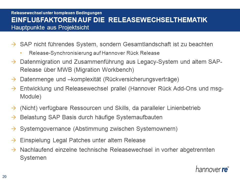20  SAP nicht führendes System, sondern Gesamtlandschaft ist zu beachten Release-Synchronisierung auf Hannover Rück Release  Datenmigration und Zusa