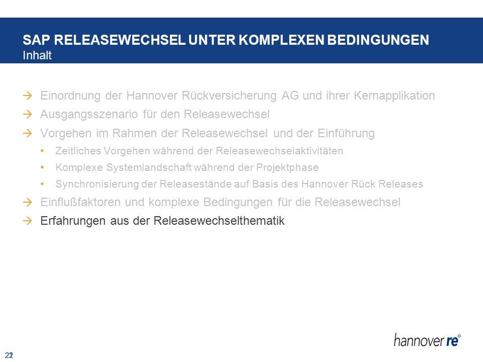 21  Einordnung der Hannover Rückversicherung AG und ihrer Kernapplikation  Ausgangsszenario für den Releasewechsel  Vorgehen im Rahmen der Releasew