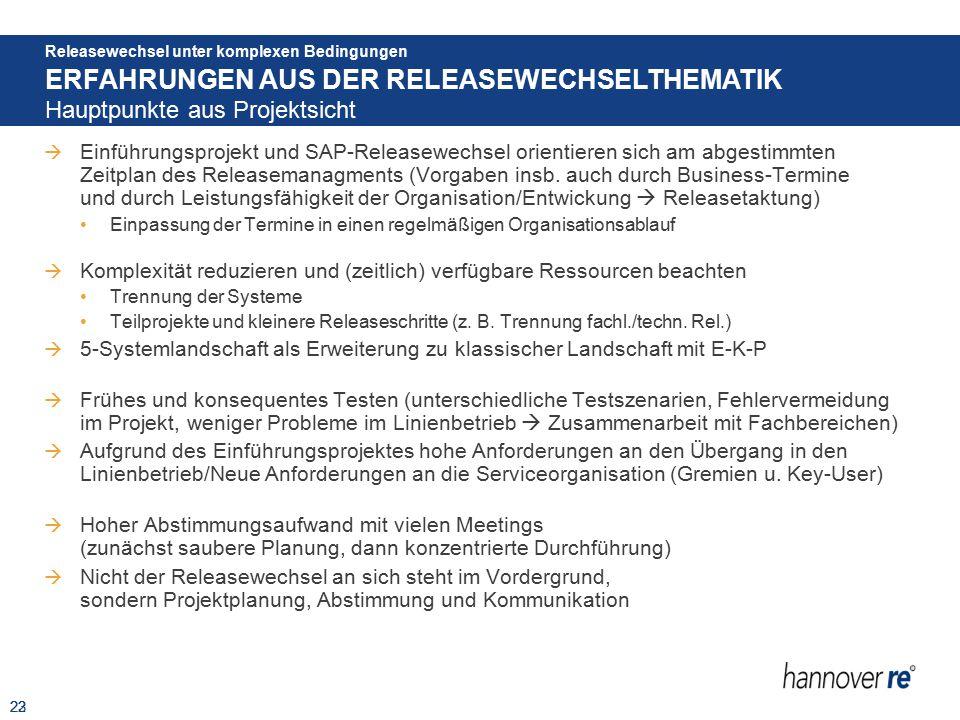  Einführungsprojekt und SAP-Releasewechsel orientieren sich am abgestimmten Zeitplan des Releasemanagments (Vorgaben insb. auch durch Business-Termin