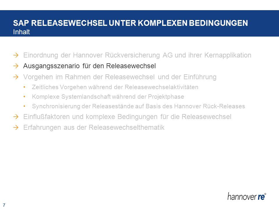 7  Einordnung der Hannover Rückversicherung AG und ihrer Kernapplikation  Ausgangsszenario für den Releasewechsel  Vorgehen im Rahmen der Releasewe