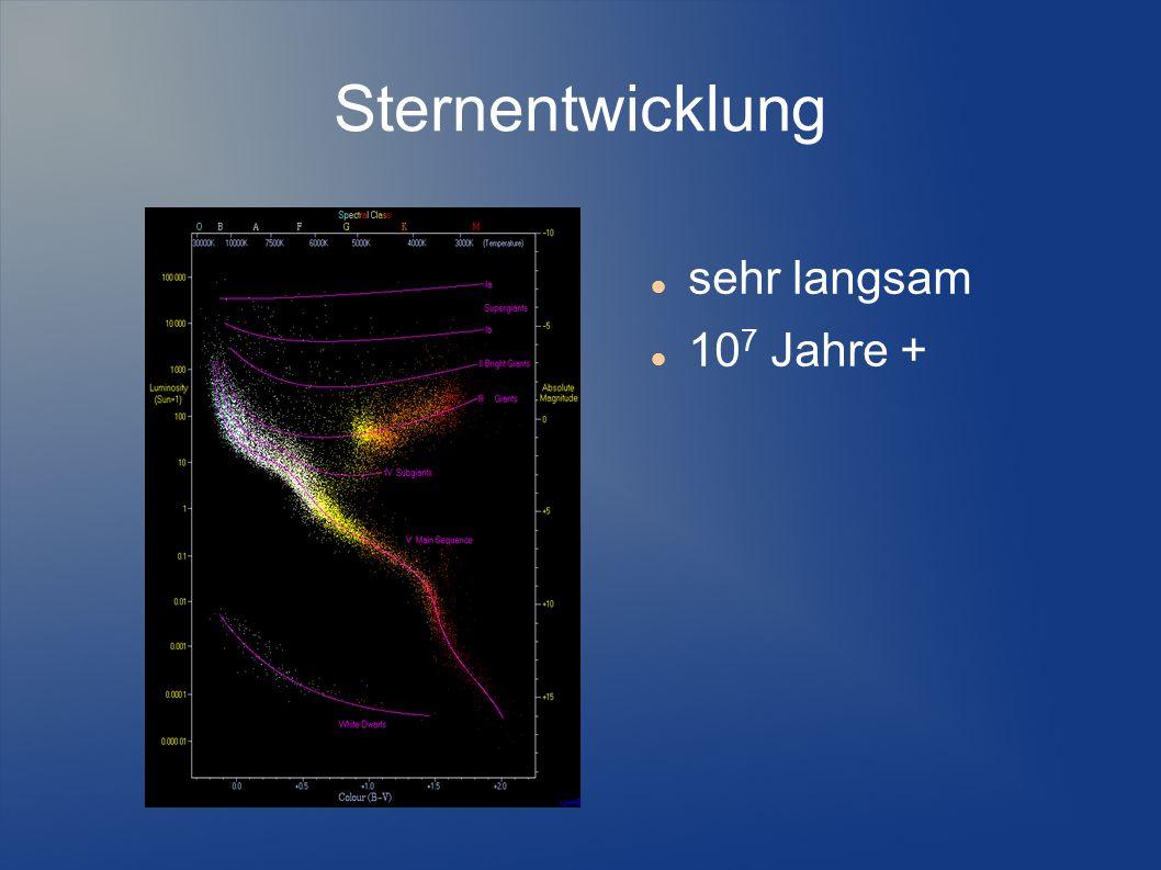 Sternentwicklung sehr langsam 10 7 Jahre +