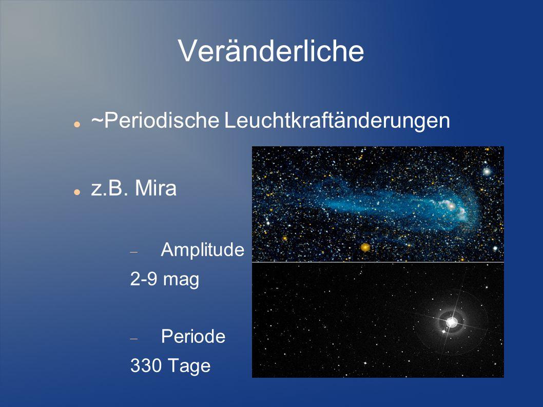 Veränderliche ~Periodische Leuchtkraftänderungen z.B. Mira  Amplitude 2-9 mag  Periode 330 Tage