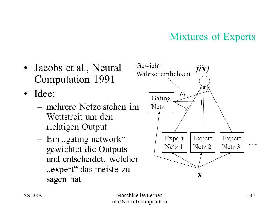 """SS 2009Maschinelles Lernen und Neural Computation 147 Mixtures of Experts Jacobs et al., Neural Computation 1991 Idee: –mehrere Netze stehen im Wettstreit um den richtigen Output –Ein """"gating network gewichtet die Outputs und entscheidet, welcher """"expert das meiste zu sagen hat Expert Netz 1 Expert Netz 2 Expert Netz 3 … x Gating Netz f(x) pipi Gewicht = Wahrscheinlichkeit"""