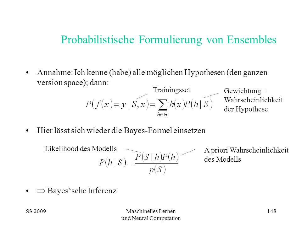 SS 2009Maschinelles Lernen und Neural Computation 148 Probabilistische Formulierung von Ensembles Annahme: Ich kenne (habe) alle möglichen Hypothesen (den ganzen version space); dann: Hier lässt sich wieder die Bayes-Formel einsetzen  Bayes'sche Inferenz Trainingsset Gewichtung= Wahrscheinlichkeit der Hypothese Likelihood des Modells A priori Wahrscheinlichkeit des Modells