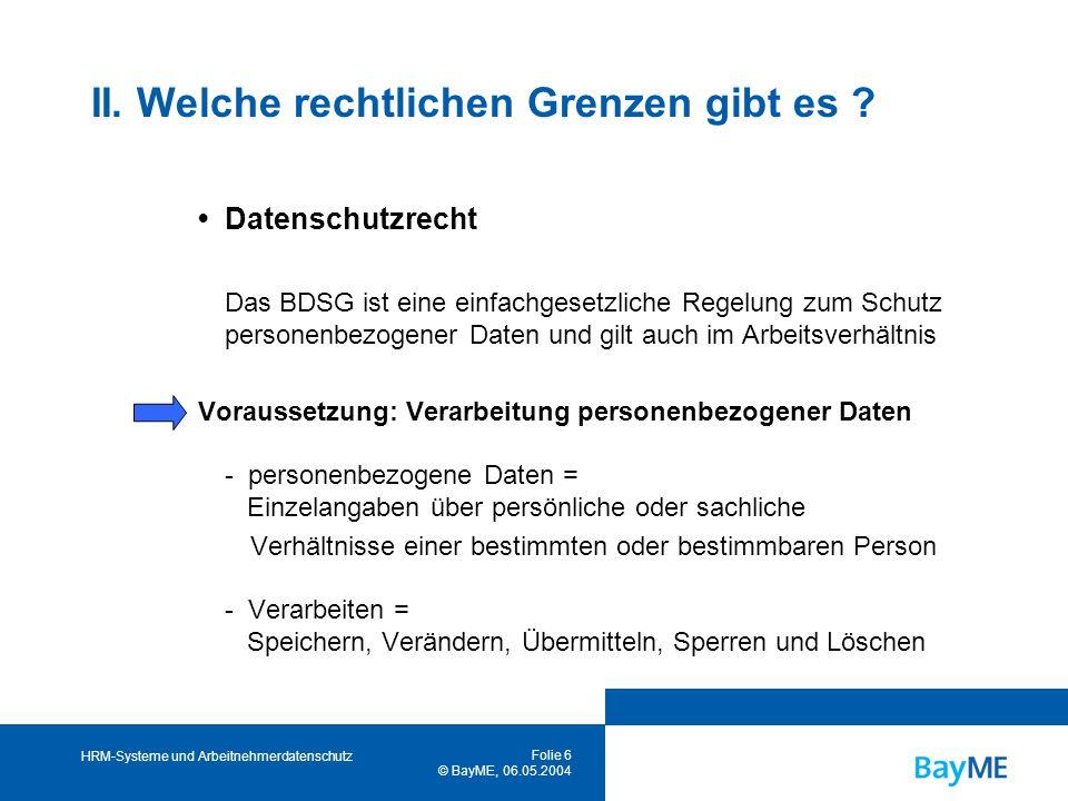 HRM-Systeme und Arbeitnehmerdatenschutz Folie 6 © BayME, 06.05.2004 II.
