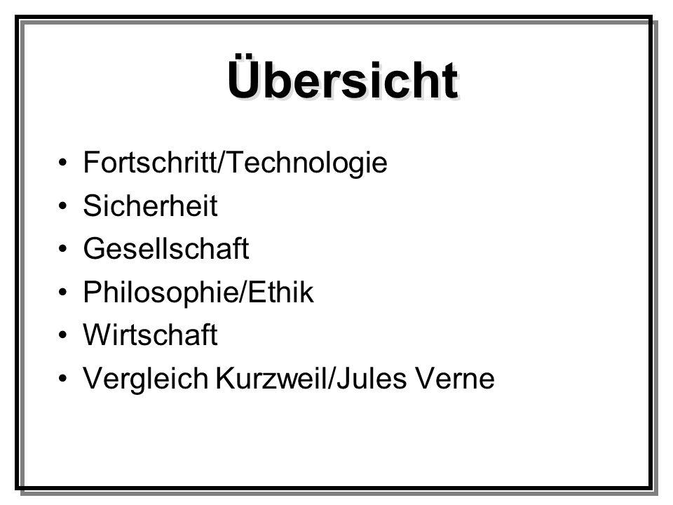 Fortschritt/Technologie Sicherheit Gesellschaft Philosophie/Ethik Wirtschaft Vergleich Kurzweil/Jules Verne Übersicht
