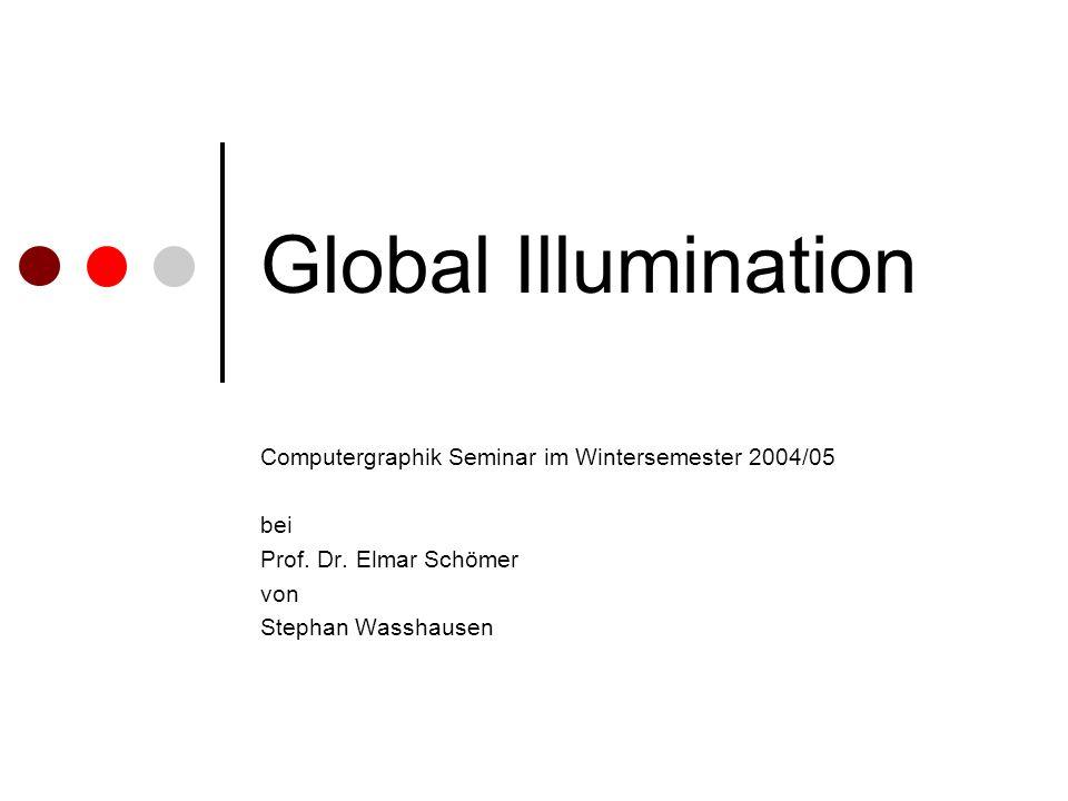 Global Illumination Computergraphik Seminar im Wintersemester 2004/05 bei Prof. Dr. Elmar Schömer von Stephan Wasshausen