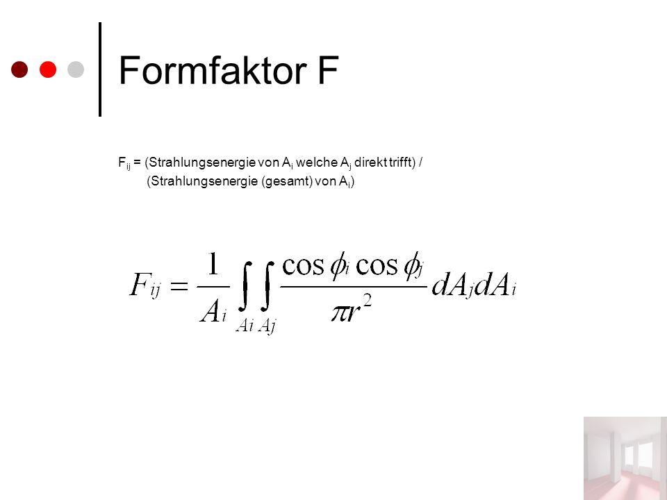Formfaktor F F ij = (Strahlungsenergie von A i welche A j direkt trifft) / (Strahlungsenergie (gesamt) von A i )