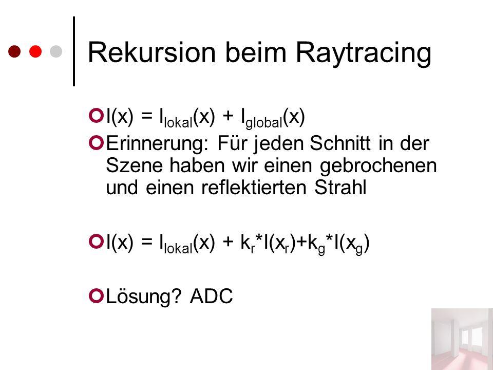Rekursion beim Raytracing I(x) = I lokal (x) + I global (x) Erinnerung: Für jeden Schnitt in der Szene haben wir einen gebrochenen und einen reflektierten Strahl I(x) = I lokal (x) + k r *I(x r )+k g *I(x g ) Lösung.