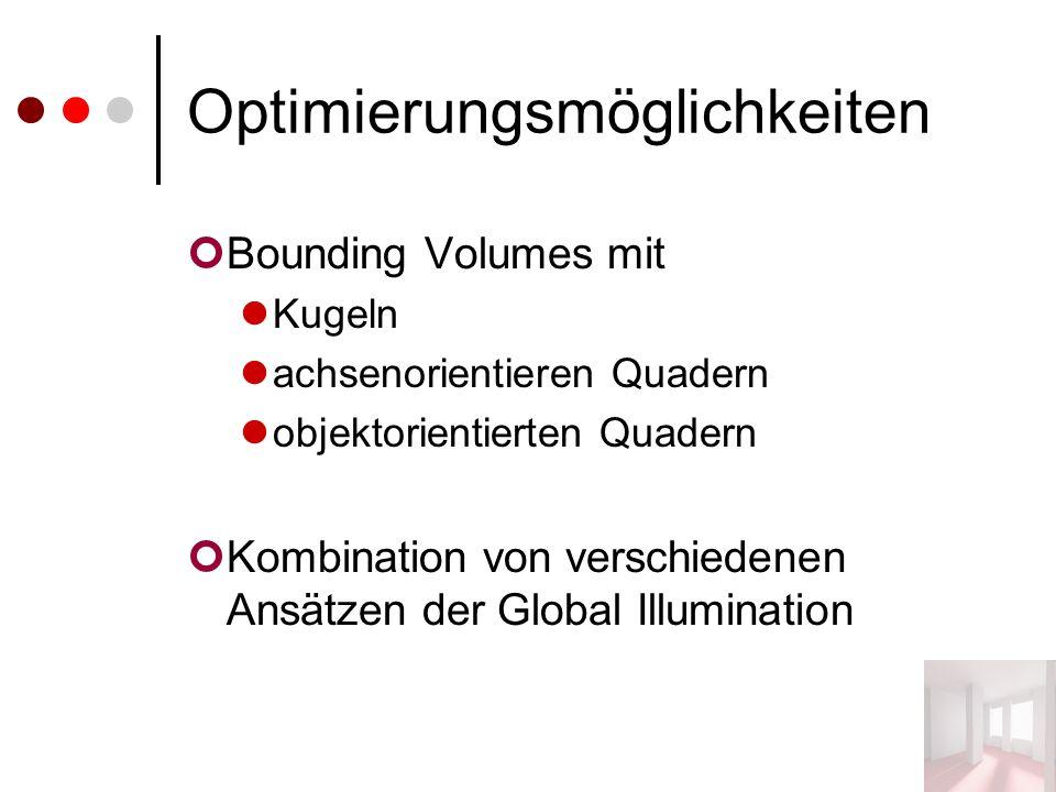 Optimierungsmöglichkeiten Bounding Volumes mit Kugeln achsenorientieren Quadern objektorientierten Quadern Kombination von verschiedenen Ansätzen der Global Illumination