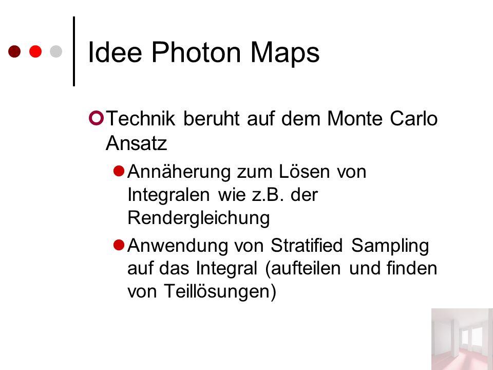 Idee Photon Maps Technik beruht auf dem Monte Carlo Ansatz Annäherung zum Lösen von Integralen wie z.B. der Rendergleichung Anwendung von Stratified S