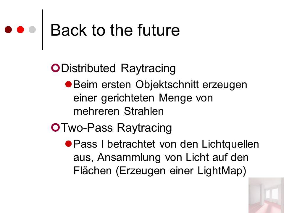 Back to the future Distributed Raytracing Beim ersten Objektschnitt erzeugen einer gerichteten Menge von mehreren Strahlen Two-Pass Raytracing Pass I betrachtet von den Lichtquellen aus, Ansammlung von Licht auf den Flächen (Erzeugen einer LightMap)