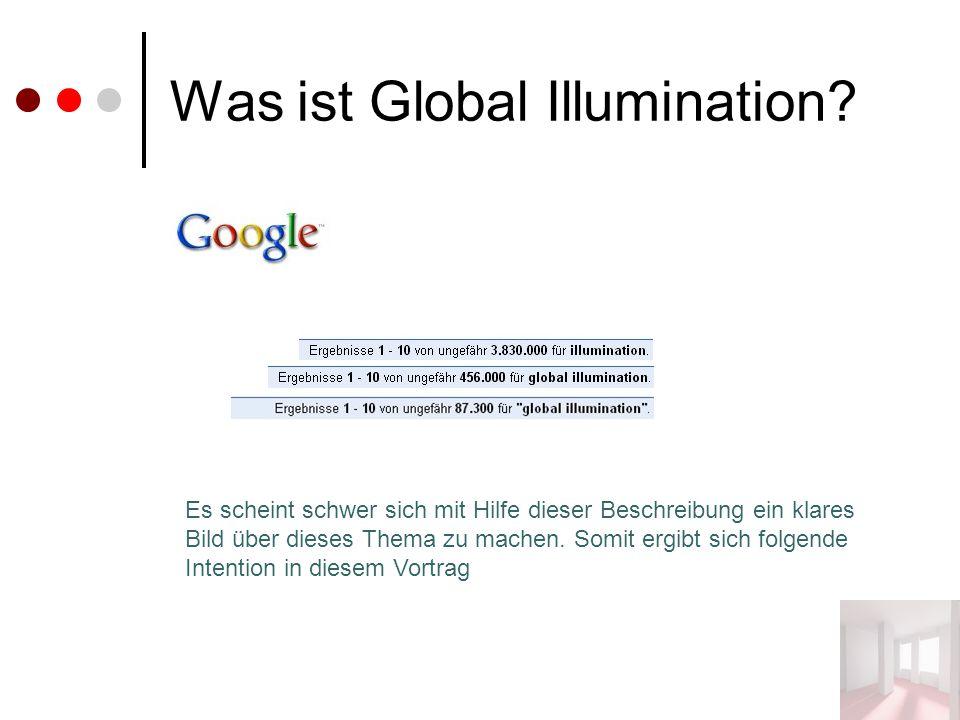 Was ist Global Illumination? Es scheint schwer sich mit Hilfe dieser Beschreibung ein klares Bild über dieses Thema zu machen. Somit ergibt sich folge