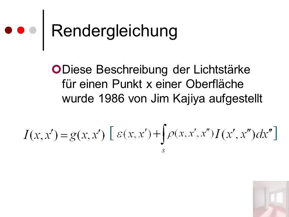 Rendergleichung Diese Beschreibung der Lichtstärke für einen Punkt x einer Oberfläche wurde 1986 von Jim Kajiya aufgestellt []