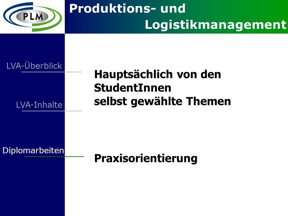 Produktions- und Logistikmanagement LVA-Überblick LVA-Inhalte Diplomarbeiten Hauptsächlich von den StudentInnen selbst gewählte Themen Praxisorientierung