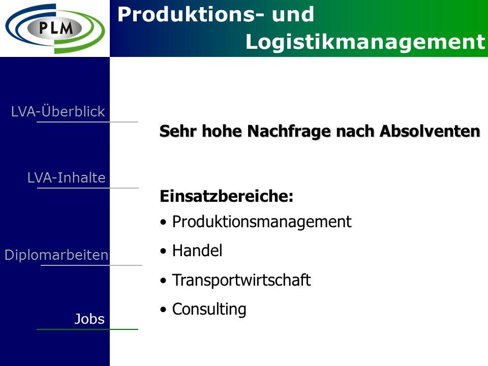 Produktions- und Logistikmanagement LVA-Überblick LVA-Inhalte Jobs Diplomarbeiten Sehr hohe Nachfrage nach Absolventen Einsatzbereiche: Produktionsmanagement Handel Transportwirtschaft Consulting
