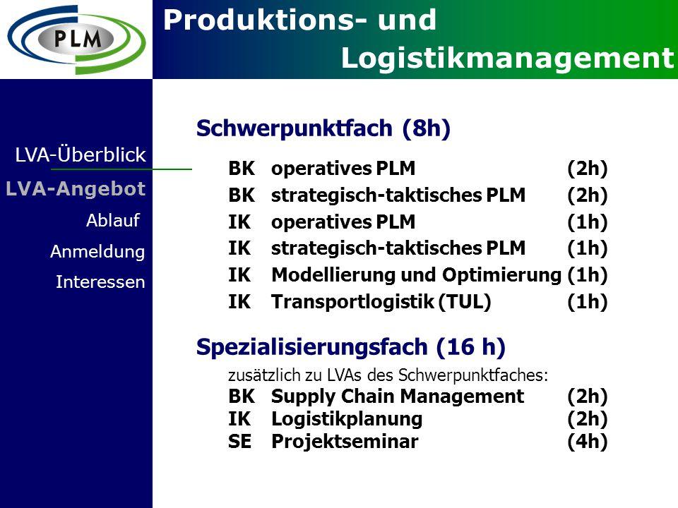 Produktions- und Logistikmanagement LVA-Überblick BKoperatives PLM (2h) BKstrategisch-taktisches PLM (2h) zusätzlich zu LVAs des Schwerpunktfaches: BKSupply Chain Management(2h) IKLogistikplanung(2h) SEProjektseminar(4h) Spezialisierungsfach (16 h) Schwerpunktfach (8h) LVA-Angebot Ablauf Anmeldung Interessen IKTransportlogistik (TUL)(1h) IKoperatives PLM (1h) IKstrategisch-taktisches PLM (1h) IK Modellierung und Optimierung(1h)