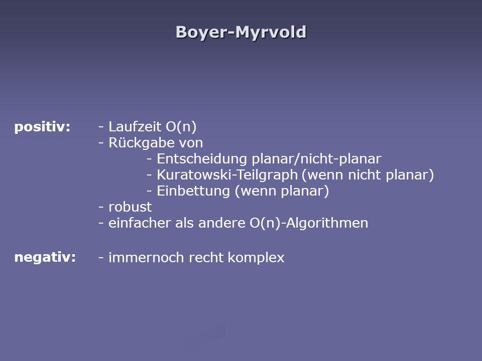 Boyer-Myrvold positiv: negativ: - Laufzeit O(n) - Rückgabe von - Entscheidung planar/nicht-planar - Kuratowski-Teilgraph (wenn nicht planar) - Einbett