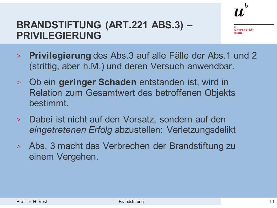Prof. Dr. H. Vest Brandstiftung 10 BRANDSTIFTUNG (ART.221 ABS.3) – PRIVILEGIERUNG > Privilegierung des Abs.3 auf alle Fälle der Abs.1 und 2 (strittig,