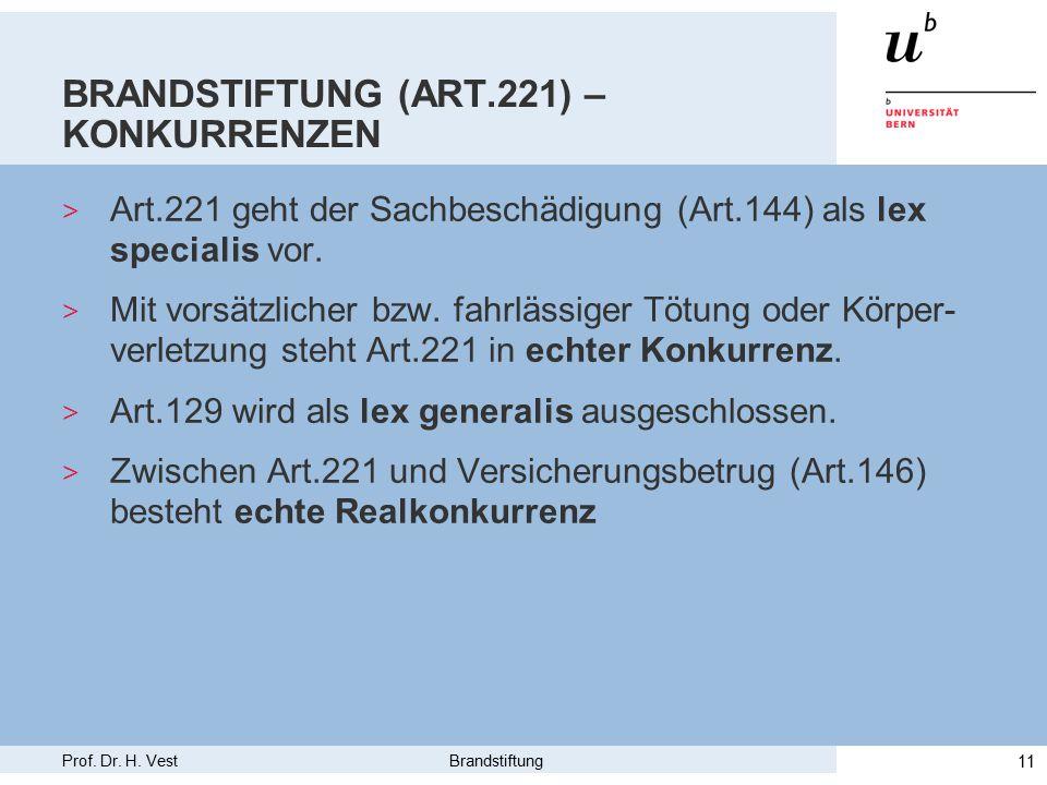 Prof. Dr. H. Vest Brandstiftung 11 BRANDSTIFTUNG (ART.221) – KONKURRENZEN > Art.221 geht der Sachbeschädigung (Art.144) als lex specialis vor. > Mit v