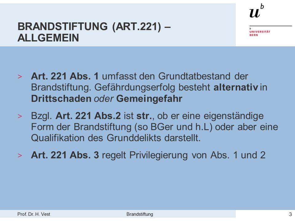 Prof.Dr. H. Vest Brandstiftung 4 BRANDSTIFTUNG (ART.221) – OBJ.