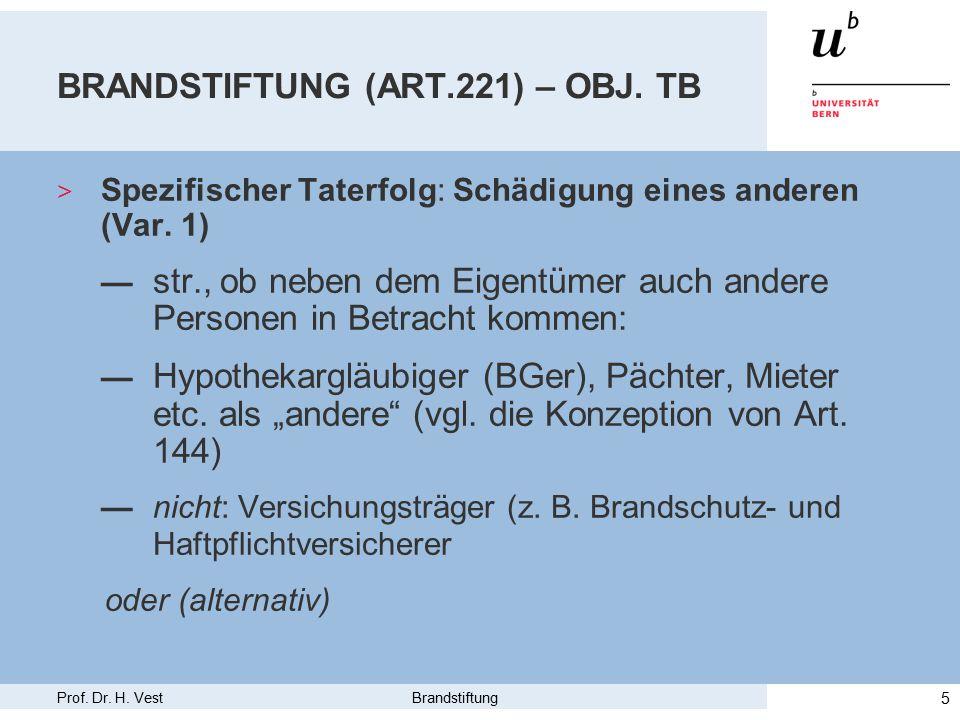 Prof. Dr. H. Vest Brandstiftung 5 BRANDSTIFTUNG (ART.221) – OBJ.