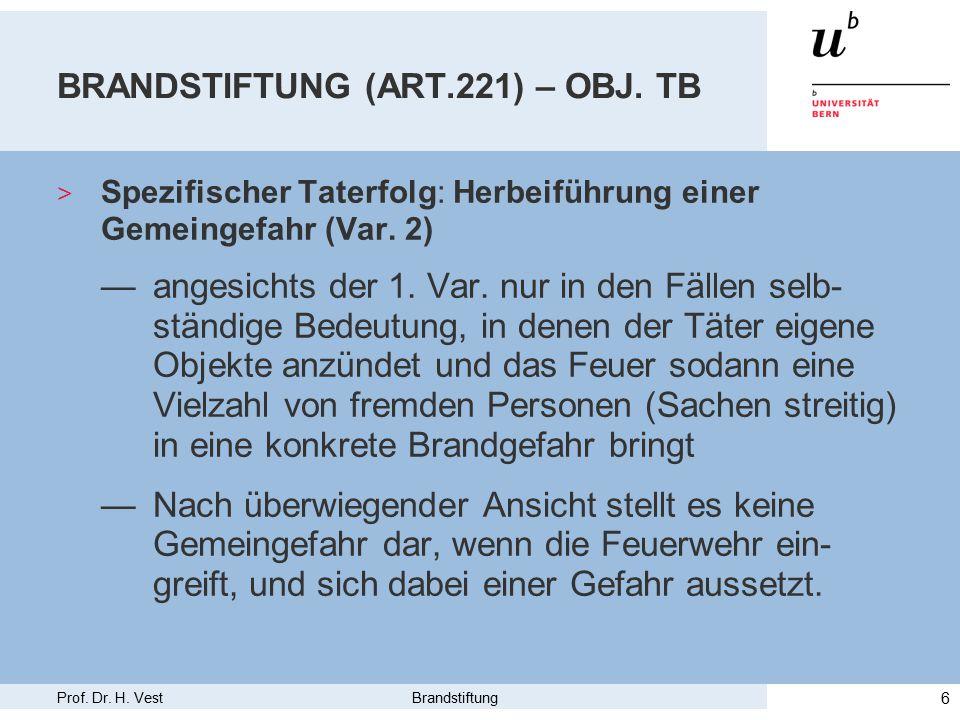 Prof. Dr. H. Vest Brandstiftung 6 BRANDSTIFTUNG (ART.221) – OBJ.