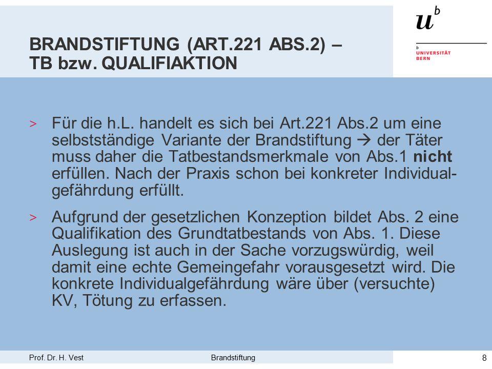 Prof. Dr. H. Vest Brandstiftung 8 BRANDSTIFTUNG (ART.221 ABS.2) – TB bzw.