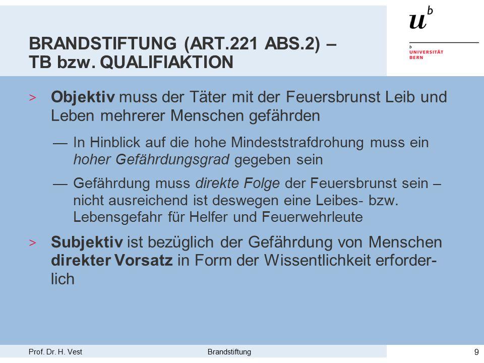 Prof. Dr. H. Vest Brandstiftung 9 BRANDSTIFTUNG (ART.221 ABS.2) – TB bzw.