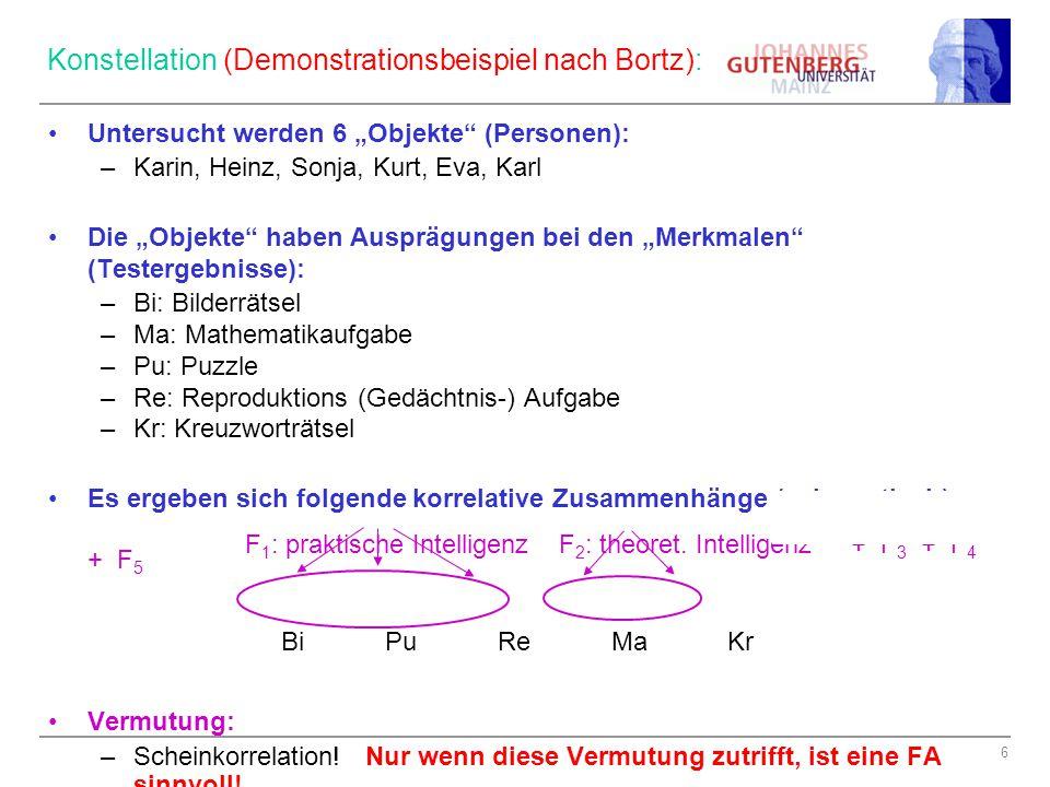 """6 Konstellation (Demonstrationsbeispiel nach Bortz): Untersucht werden 6 """"Objekte"""" (Personen): –Karin, Heinz, Sonja, Kurt, Eva, Karl Die """"Objekte"""" hab"""