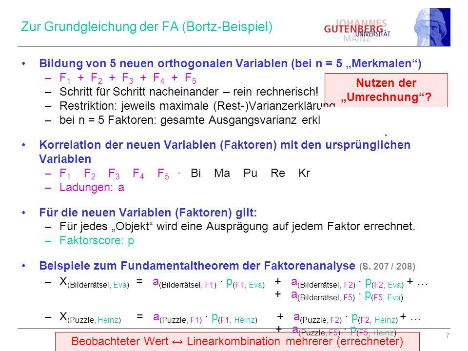 """7 Zur Grundgleichung der FA (Bortz-Beispiel) Bildung von 5 neuen orthogonalen Variablen (bei n = 5 """"Merkmalen"""") –F 1 + F 2 + F 3 + F 4 + F 5 –Schritt"""