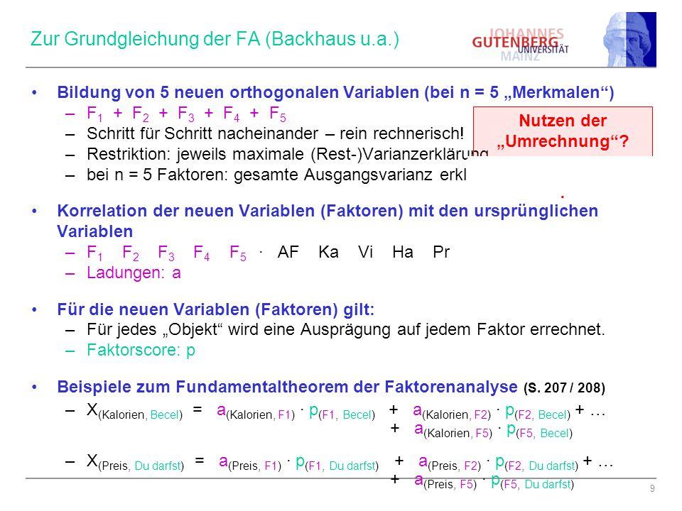 """9 Zur Grundgleichung der FA (Backhaus u.a.) Bildung von 5 neuen orthogonalen Variablen (bei n = 5 """"Merkmalen"""") –F 1 + F 2 + F 3 + F 4 + F 5 –Schritt f"""
