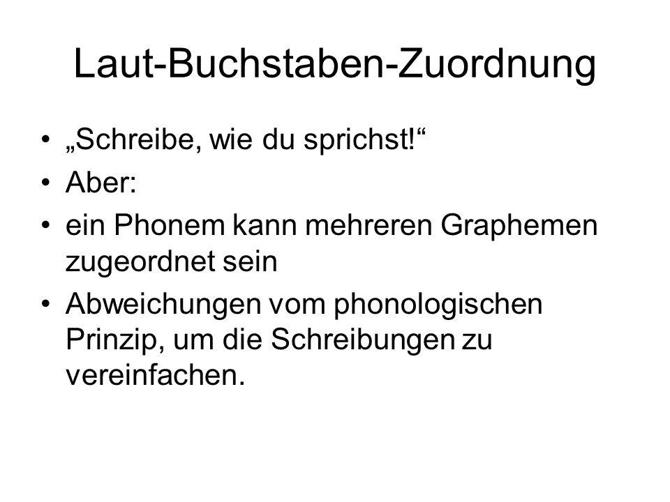 """Laut-Buchstaben-Zuordnung """"Schreibe, wie du sprichst!"""" Aber: ein Phonem kann mehreren Graphemen zugeordnet sein Abweichungen vom phonologischen Prinzi"""