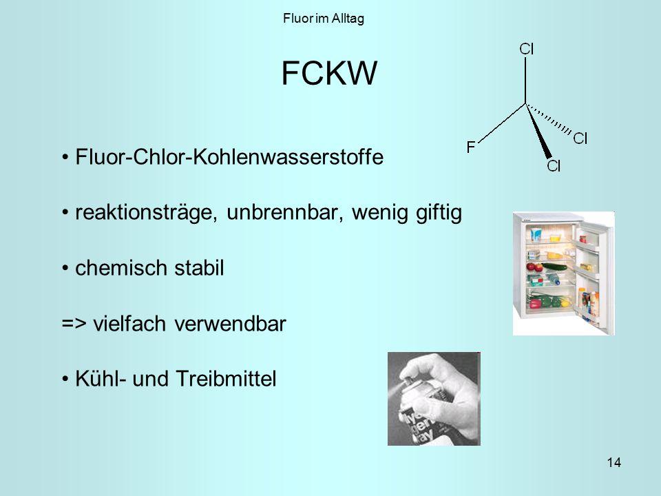 14 FCKW Fluor-Chlor-Kohlenwasserstoffe reaktionsträge, unbrennbar, wenig giftig chemisch stabil => vielfach verwendbar Kühl- und Treibmittel Fluor im Alltag
