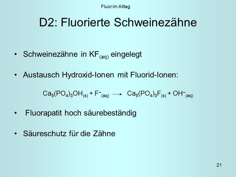 21 D2: Fluorierte Schweinezähne Schweinezähne in KF (aq) eingelegt Austausch Hydroxid-Ionen mit Fluorid-Ionen: Ca 5 (PO 4 ) 3 OH (s) + F – (aq) Ca 5 (PO 4 ) 3 F (s) + OH – (aq) Fluorapatit hoch säurebeständig Säureschutz für die Zähne Fluor im Alltag