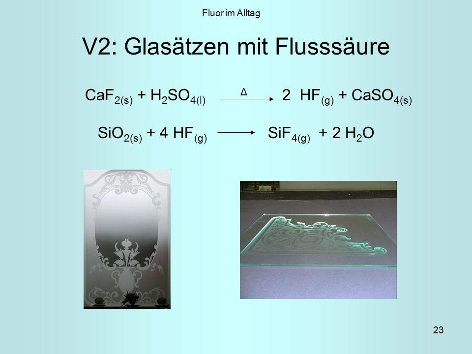 23 V2: Glasätzen mit Flusssäure CaF 2(s) + H 2 SO 4(l) Δ 2 HF (g) + CaSO 4(s) SiO 2(s) + 4 HF (g) SiF 4(g) + 2 H 2 O Fluor im Alltag