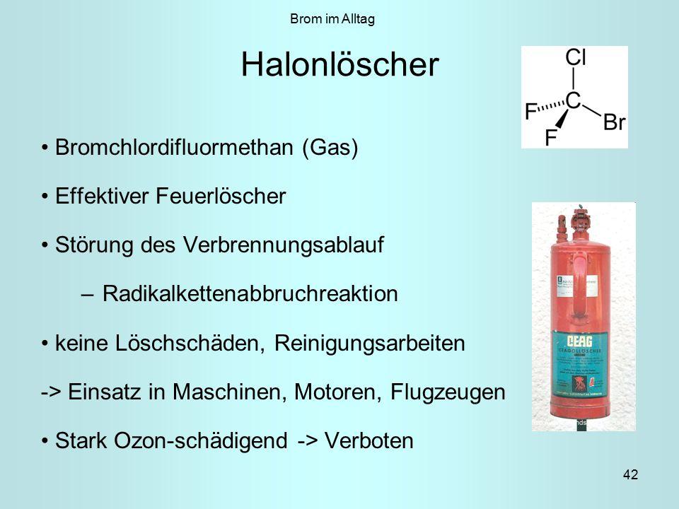 42 Halonlöscher Bromchlordifluormethan (Gas) Effektiver Feuerlöscher Störung des Verbrennungsablauf –Radikalkettenabbruchreaktion keine Löschschäden, Reinigungsarbeiten -> Einsatz in Maschinen, Motoren, Flugzeugen Stark Ozon-schädigend -> Verboten Brom im Alltag