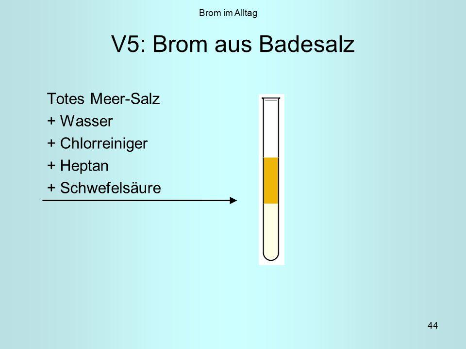44 V5: Brom aus Badesalz Totes Meer-Salz + Wasser + Chlorreiniger + Heptan + Schwefelsäure Brom im Alltag