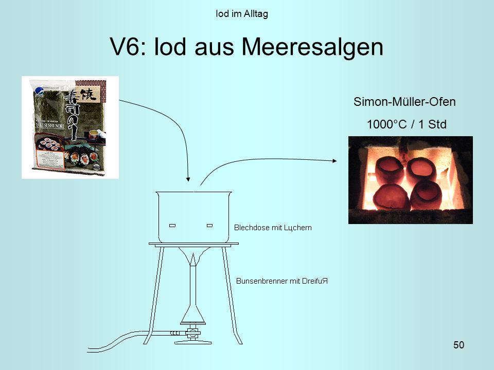 50 V6: Iod aus Meeresalgen Simon-Müller-Ofen 1000°C / 1 Std Iod im Alltag