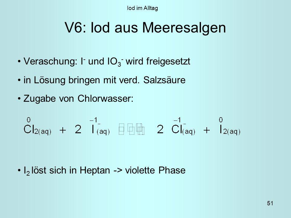 51 V6: Iod aus Meeresalgen Veraschung: I - und IO 3 - wird freigesetzt in Lösung bringen mit verd.