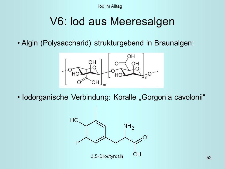 """52 V6: Iod aus Meeresalgen Algin (Polysaccharid) strukturgebend in Braunalgen: Iodorganische Verbindung: Koralle """"Gorgonia cavolonii Iod im Alltag"""