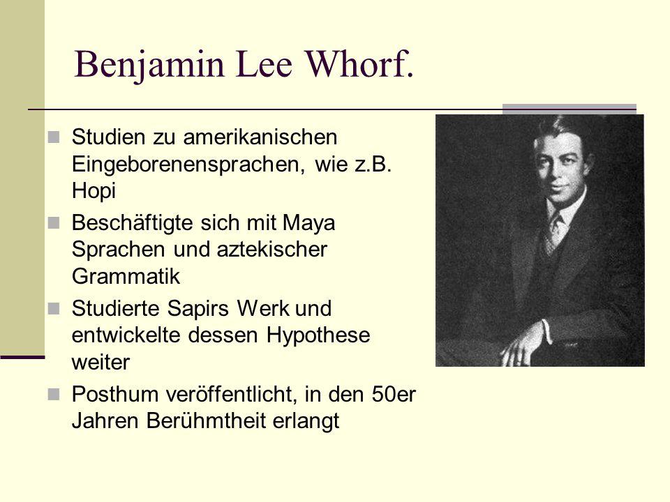 Die Anfänge der Sapir-Whorf- Hypothese.