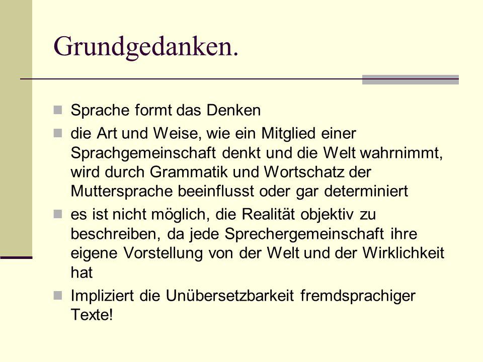 Vertreter.Franz Boas Untersuchungen der Relation zwischen Grammatik und geographischer Lage.