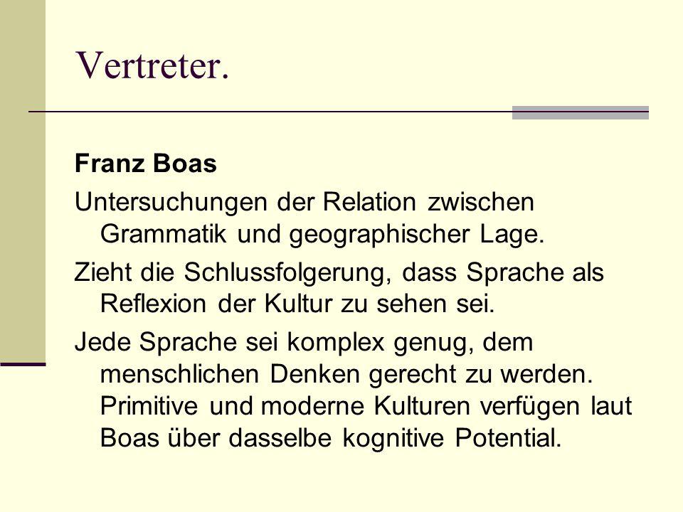 Vertreter. Franz Boas Untersuchungen der Relation zwischen Grammatik und geographischer Lage.
