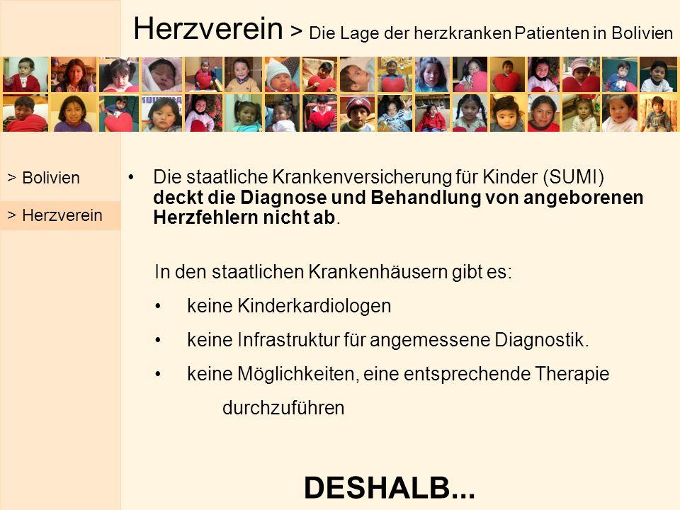 Herzverein > Die Lage der herzkranken Patienten in Bolivien Die staatliche Krankenversicherung für Kinder (SUMI) deckt die Diagnose und Behandlung von